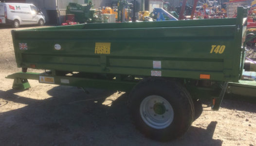 Foster T40 4 tonne steel bodied tipping trailer painted green for sale